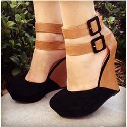Stylish Contrast Colour Suede Wedge Sandals
