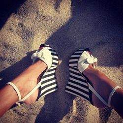 Shoespie Concise Contrast Colour Cloth Wedge Sandals