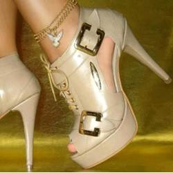 Attractive Beige PU Cut-Outs Platform Sandals