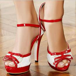 Appealing Contrast Colour PU Ankle Strap Dress Sandals
