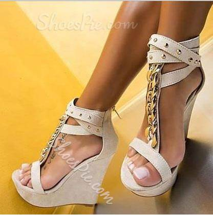 Charming Ankle Strap Metal Chain Wedge Sandals