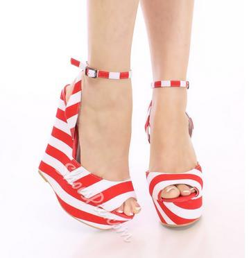 Fashionable Contrast Colour PU Wedge Sandals