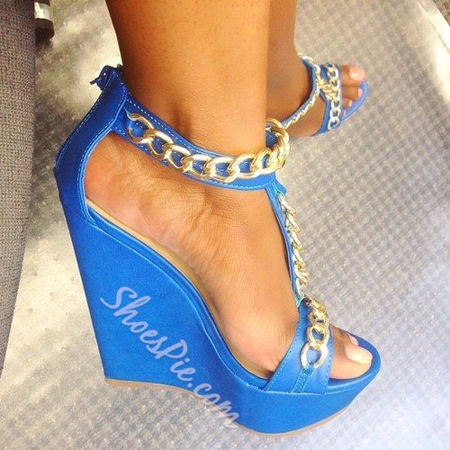 Shoespie Absorbing PU Metal Chain Ankle Strap Wedge Sandals