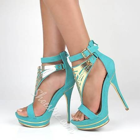 Breathtaking Contrast Color Platform Sandals