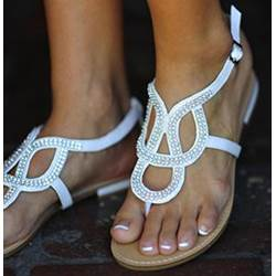 Shapely PU Cut-Outs Flat Sandals