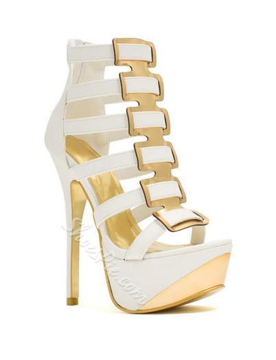 Sophisticated Contrast Colour Cut-Outs Platform Sandals
