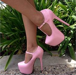 Shoespie Good-Looking Solid Colour PU Ankle Strap Platform Heels