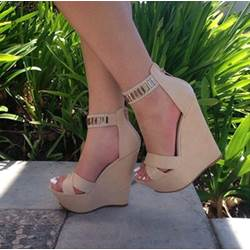 Glamorous Ankle Strap Wedge Sandals