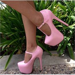 Good-Looking Solid Colour PU Ankle Strap Platform Heels