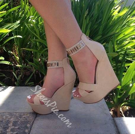 Shoespie Glamorous Ankle Strap Wedge Sandals
