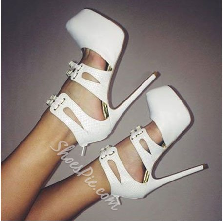 Glamorous Coppy Leather Cut-Outs Dress Sandals
