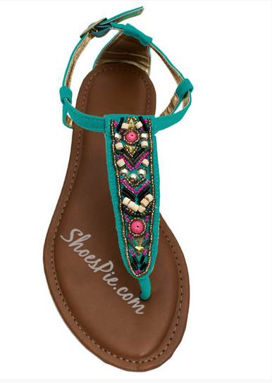 Sparkling Beading Suede Flat Sandals