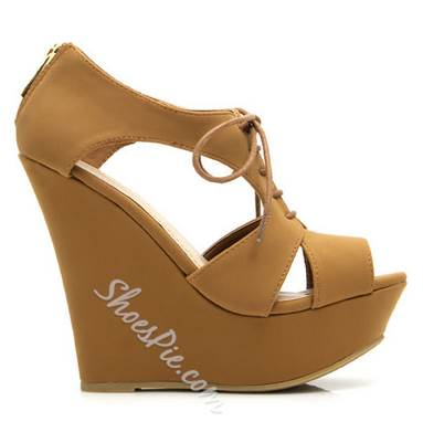 Classy PU Butterfly Cut-Outs Wedge Sandals