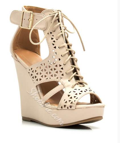 Brilliant Solid Colour Cloth Cut-Outs Wedge Sandals