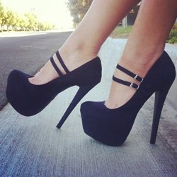 Black Platform Heels With Ankle Strap - Shoespie.com