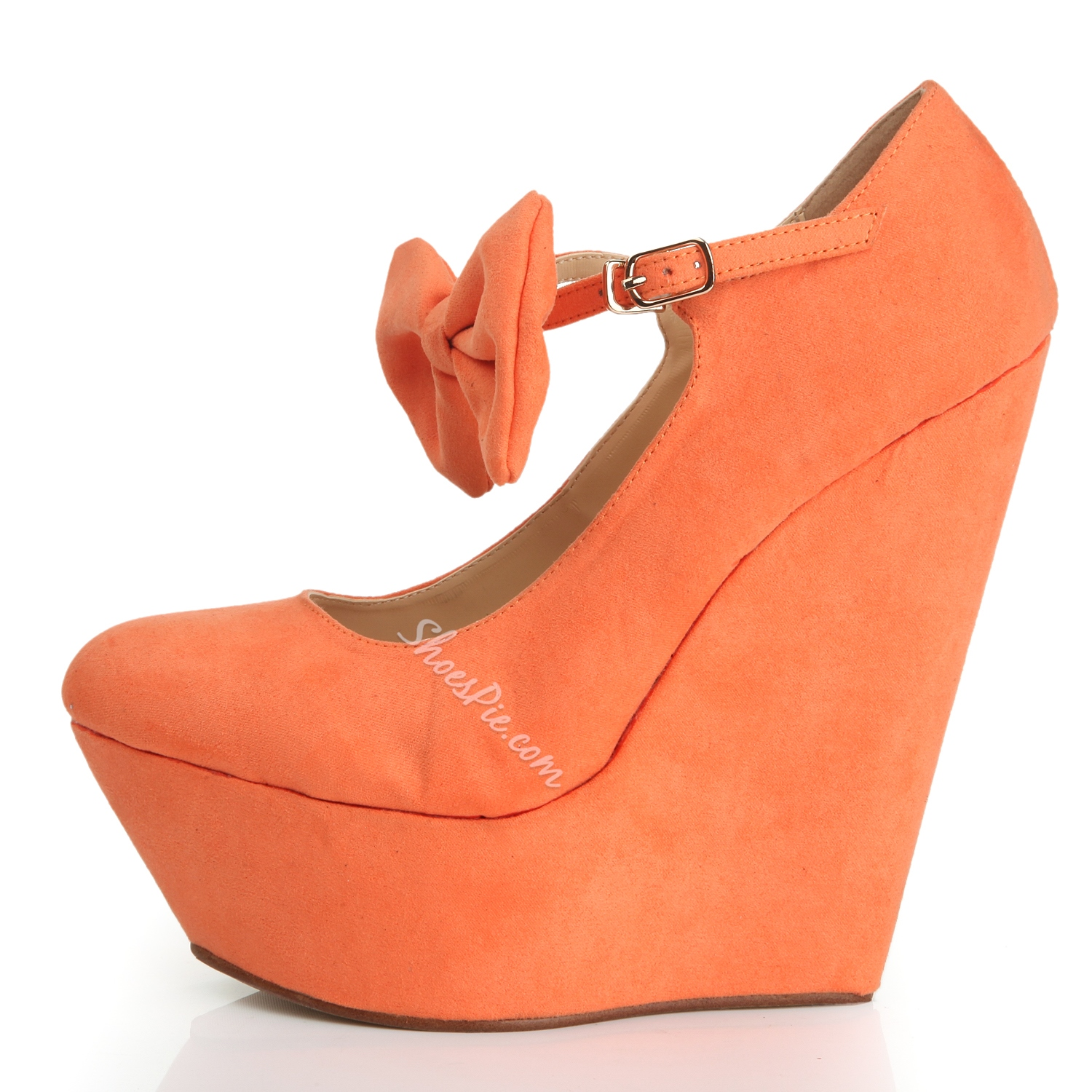 Sweet Yellow Closed-Toe Wedge Heel Bowknot Ankle Strap Pumps ...
