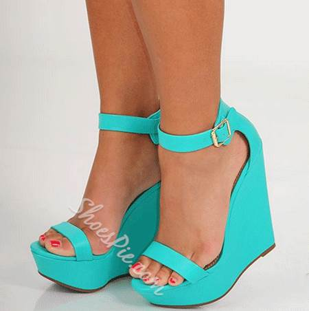 Sophisticated PU Ankle Strap Wedge Sandals