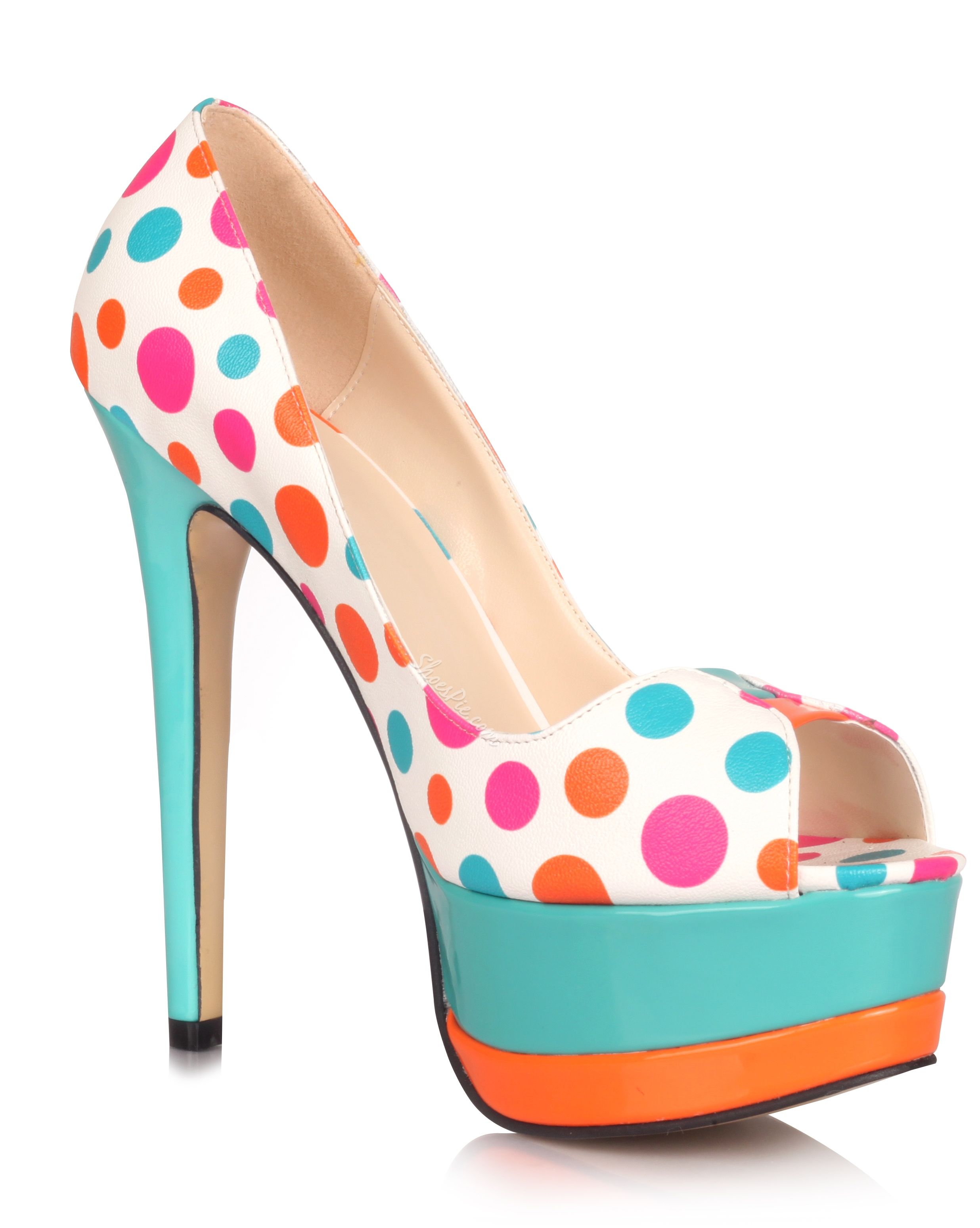Lovely Colorful Polk Dot Peep Toe Stiletto Heels