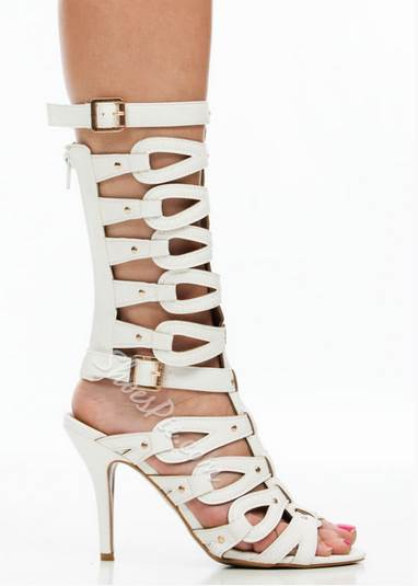 Sophisticated Butterfly Cut-Outs Knee High Dress Sandals