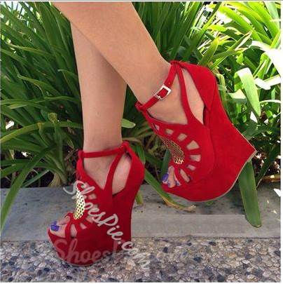 Mysterious Suede Cut-Outs Wedge Sandals