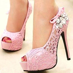 Beautiful Rhinestone Peep-toe Heels