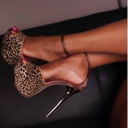 Delicate Leopard Suede Ankle Strap Dress Sandals
