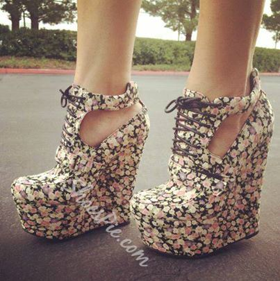Unique Flower Print Satin Wedge Sandals
