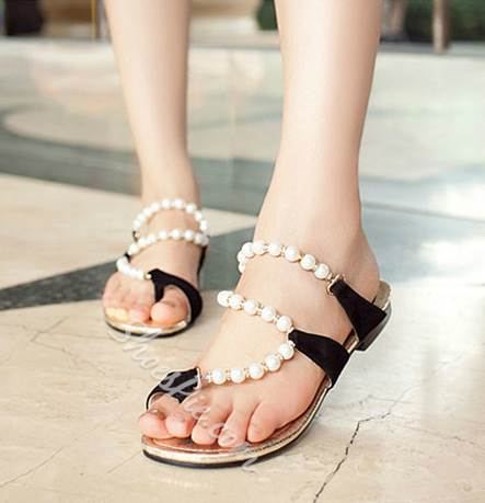 Sweet Beading Pearl Flat Sandals