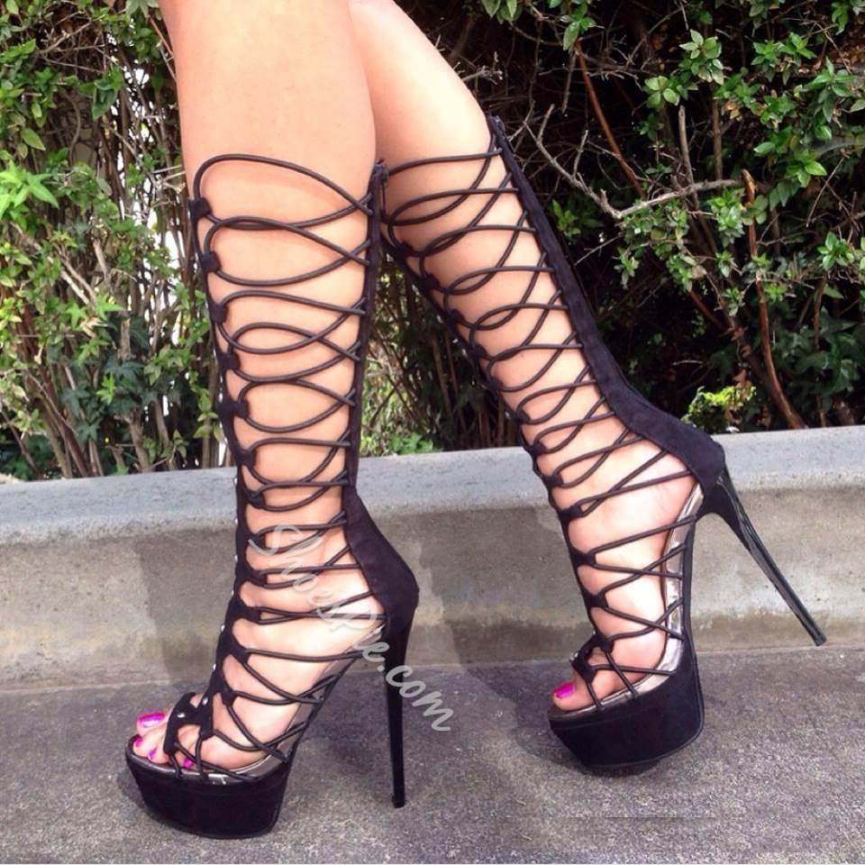 Prepossessing Cut-Outs Cloth Knee High Gladiator Sandals