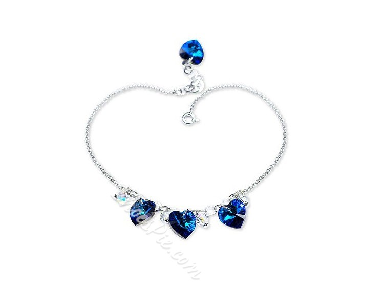 Astonishing Heart-Shaped Crystal Anklets