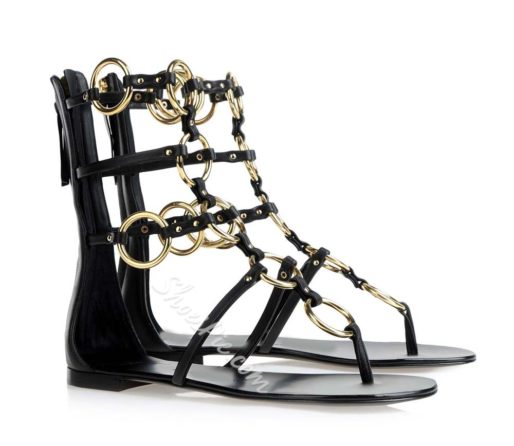 Sexy Round Ring Metal Buckle Online Shoes Store Sale Gladiator Sandals
