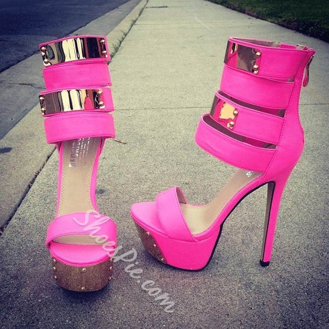 Shoespie Remarkable Party Girl Contrast Color Platform Sandals