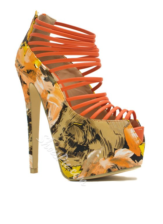 Ladylike Flower Print Coppy Leather Cut-Outs Dress Sandals