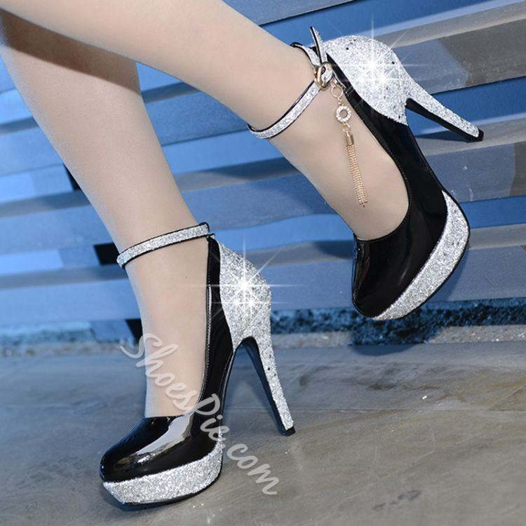 Shoespie Rhinestone Stiletto Heel Round Toe Patchwork Wedding Bridal Shoes