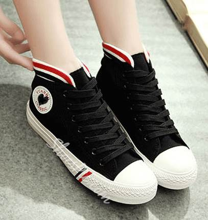 Simple Contrast Color Cloth Lace-Up Canvas Shoes