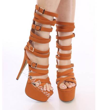 Sexy Cut-Outs Buckle Knee High Sandals