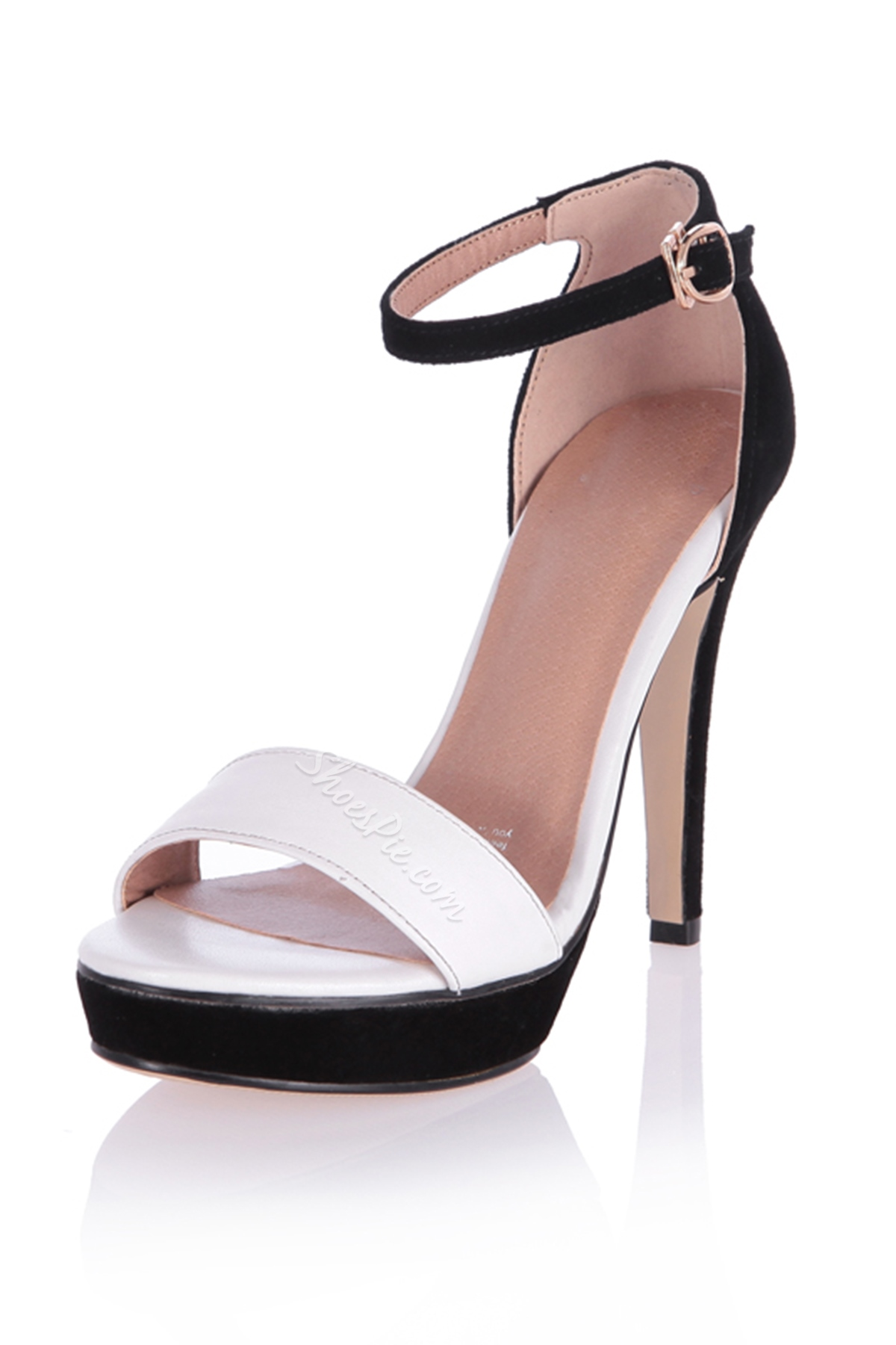 Glamorous White Strap Stiletto Heel Platform Sandals