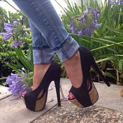 Shoespie Exquisite Black Suede Peep-toe Heels