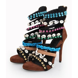Noble Multicolor Rhinestone Stiletto Heel Ankle Strap Sandals