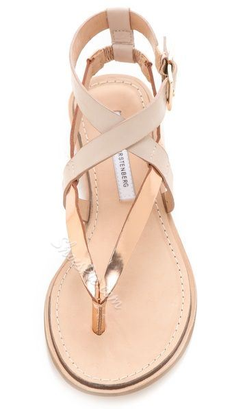 Simple Coppy Leather Cut-Outs Flat Sandals
