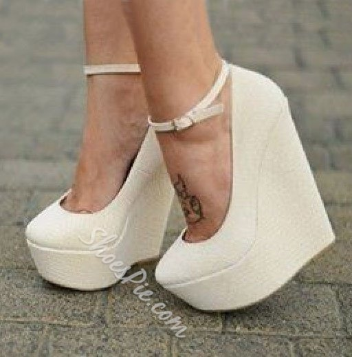 Courtlike PU Ankle Strap Wedge Heels