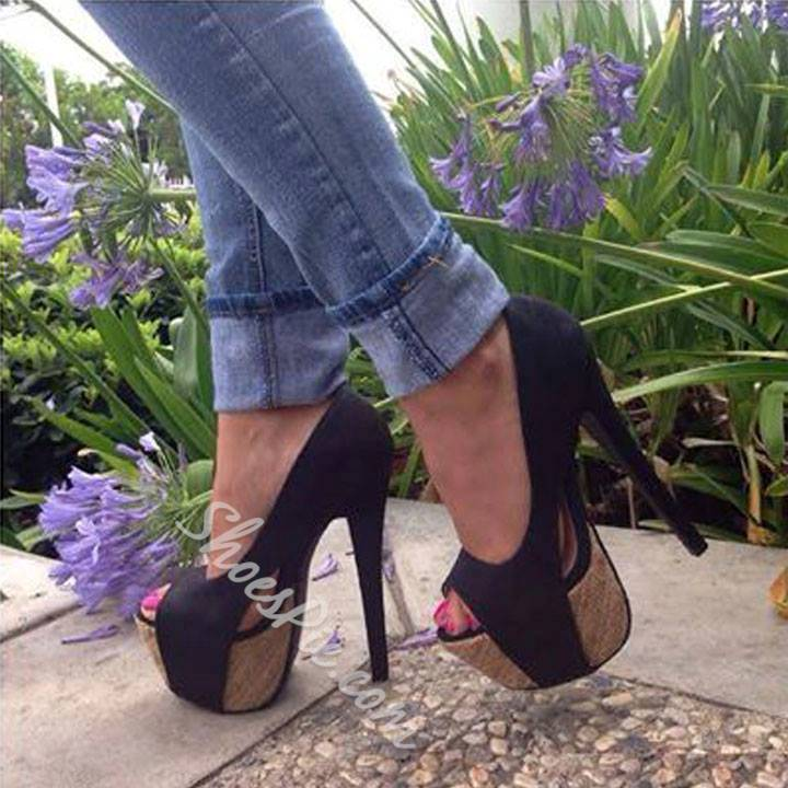 Exquisite Black Suede Peep-toe Heels