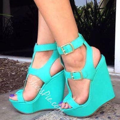 Awesome PU Cut-Outs Buckle Wedge Sandals
