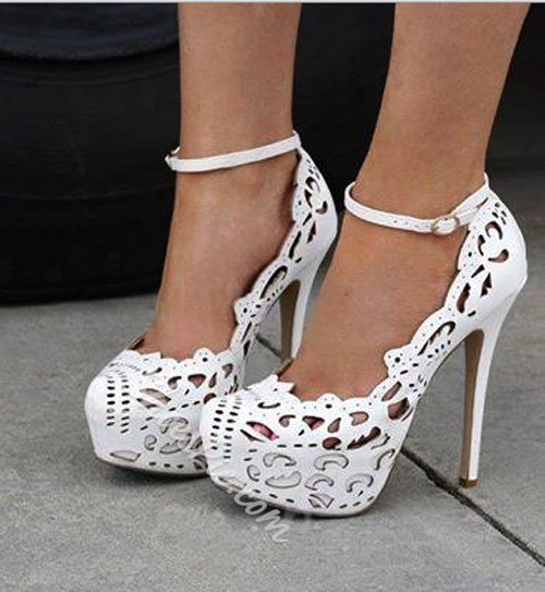 Classy PU Cut-Outs Ankle Strap Platform Heels