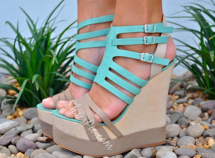 Prepossessing Contrast Color PU Wedge Sandals