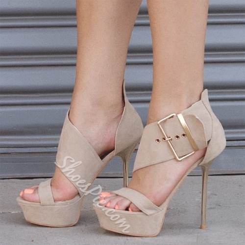 Exquisite Suede Buckle Dress Sandals
