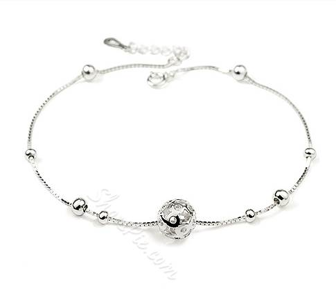 Delicate Fine Silver Transit Bead Anklets