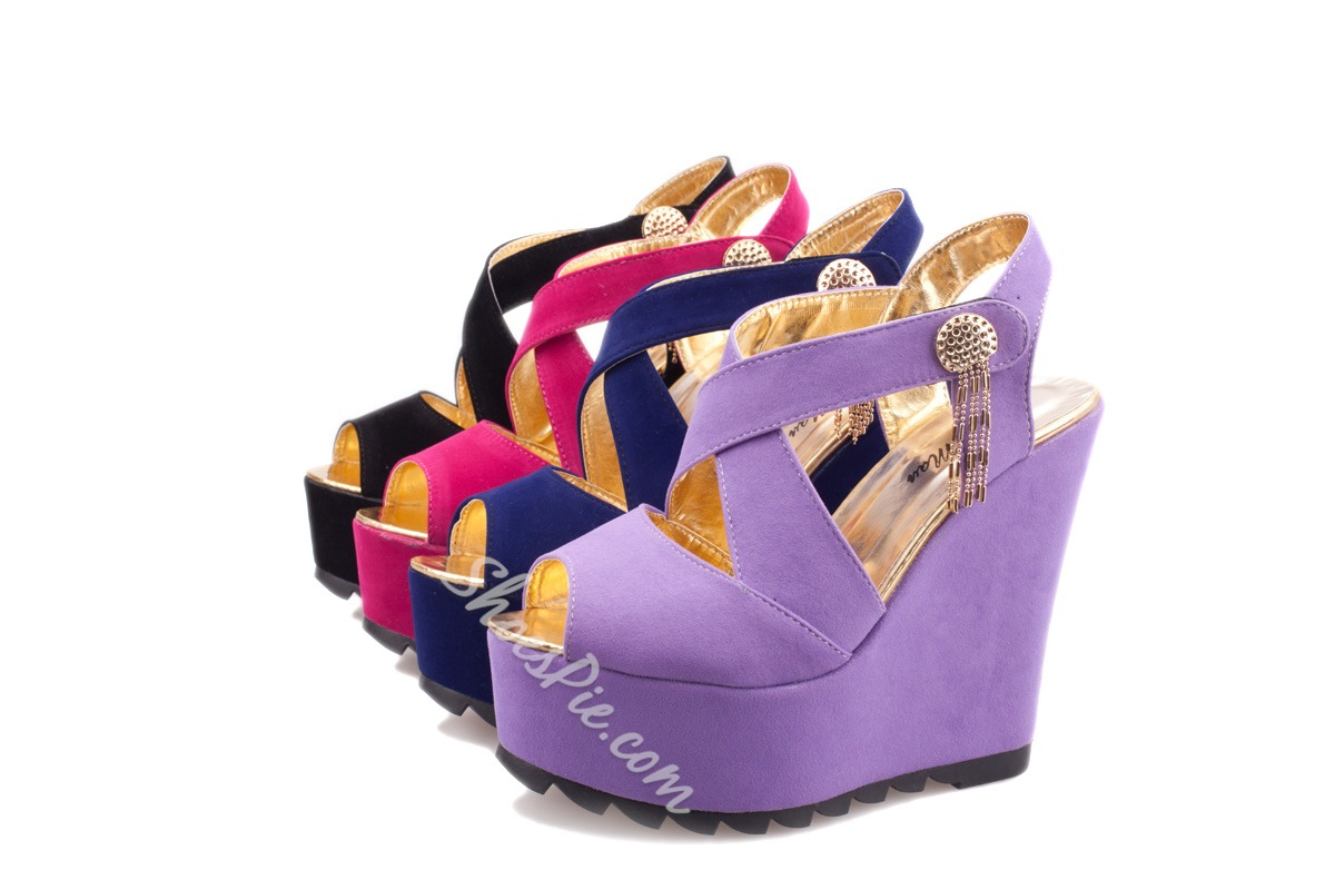 Attractive Suede Cut-Outs Wedge Sandals
