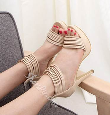 Fascinating PU Ankle Strap Dress Sandals
