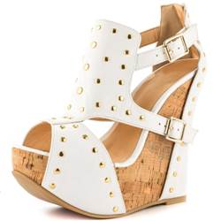 Awesome PU Cut-Outs Rivets Wedge Sandals